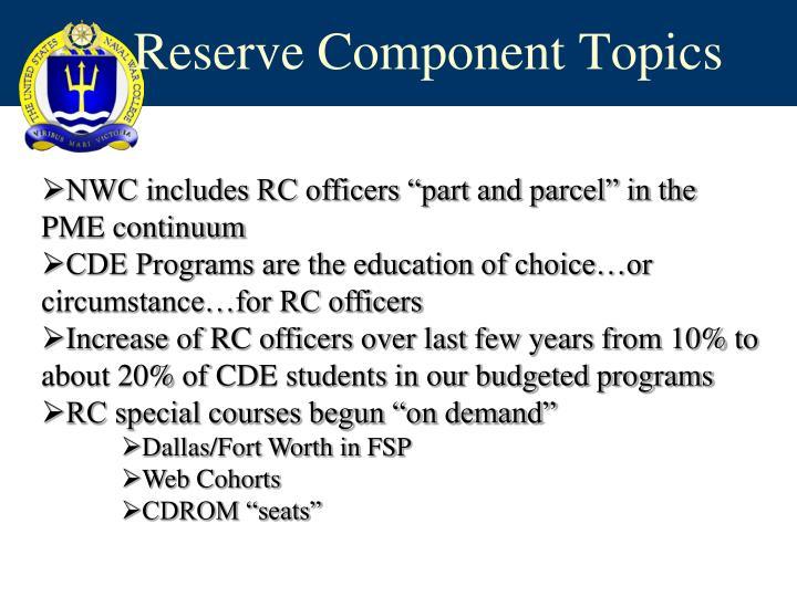 Reserve Component Topics