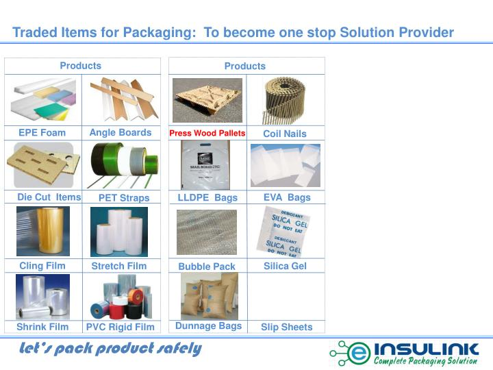 Traded Items for Packaging:  To become one stop Solution Provider