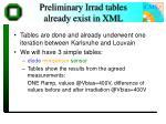 preliminary irrad tables already exist in xml