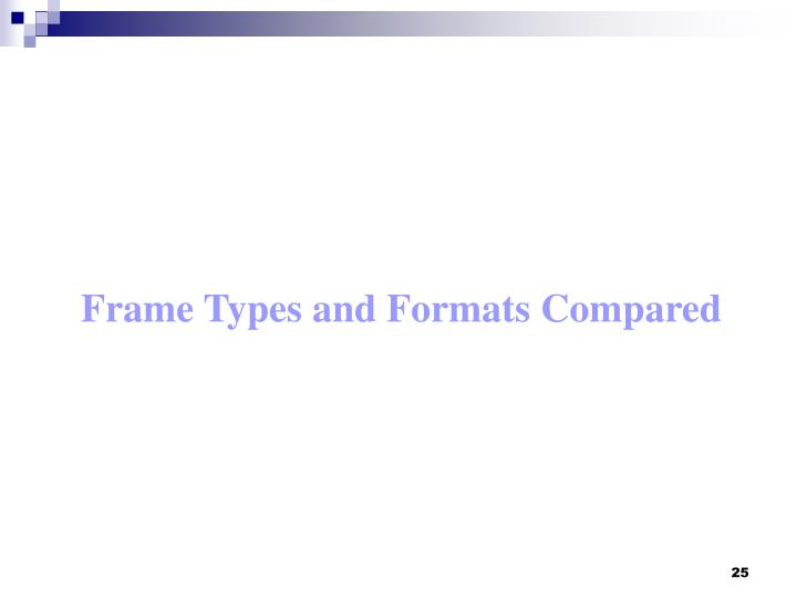 Frame Types and Formats Compared