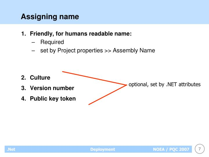 Assigning name