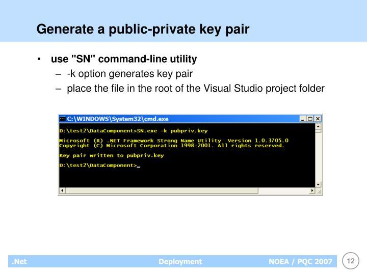 Generate a public-private key pair