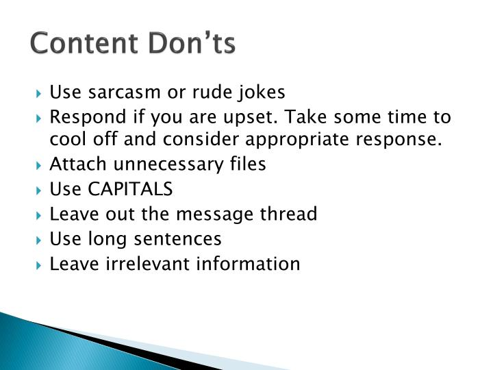 Content Don'ts