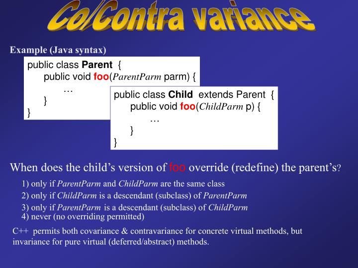 Co/Contra variance