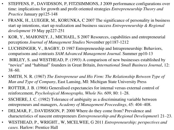 STEFFENS, P., DAVIDSSON, P, FITZSIMMONS, J 2009 performance configurations over time: implications for growth and profit oriented strategies