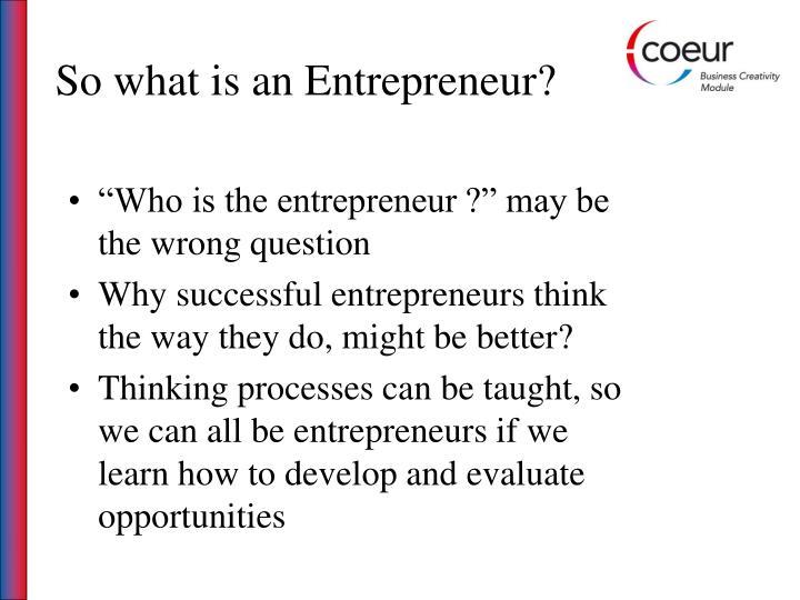 So what is an Entrepreneur?