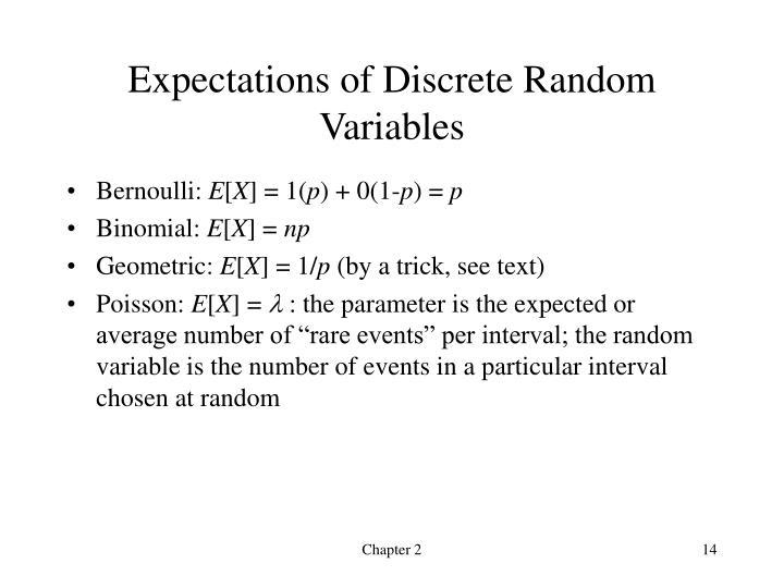 Expectations of Discrete Random Variables