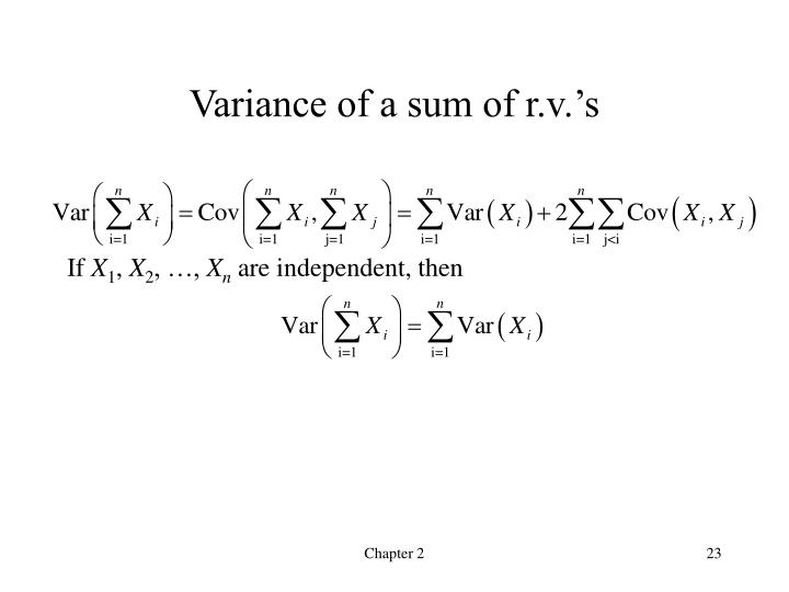 Variance of a sum of r.v.'s