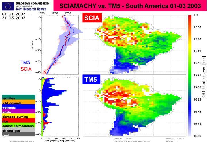 SCIAMACHY vs. TM5 - South America 01-03 2003
