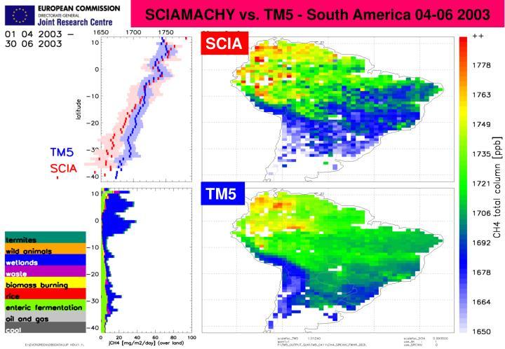 SCIAMACHY vs. TM5 - South America 04-06 2003