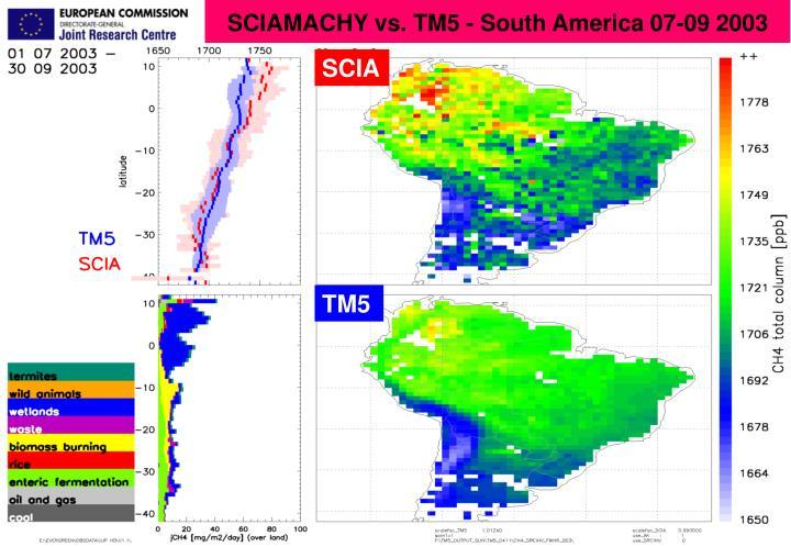 SCIAMACHY vs. TM5 - South America 07-09 2003