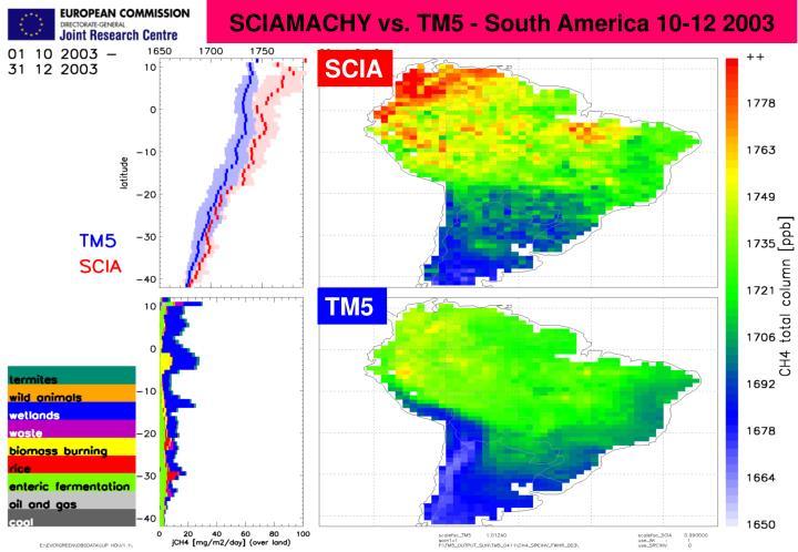 SCIAMACHY vs. TM5 - South America 10-12 2003