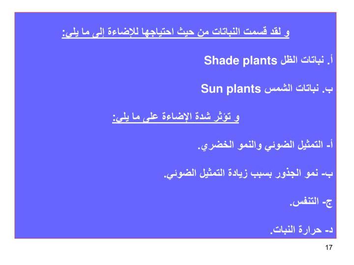 و لقد قسمت النباتات من حيث احتياجها للإضاءة إلى ما يلي: