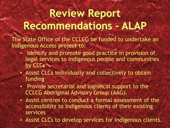 Review report recommendations alap