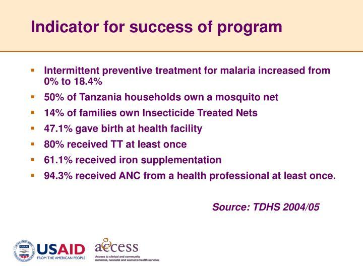 Indicator for success of program