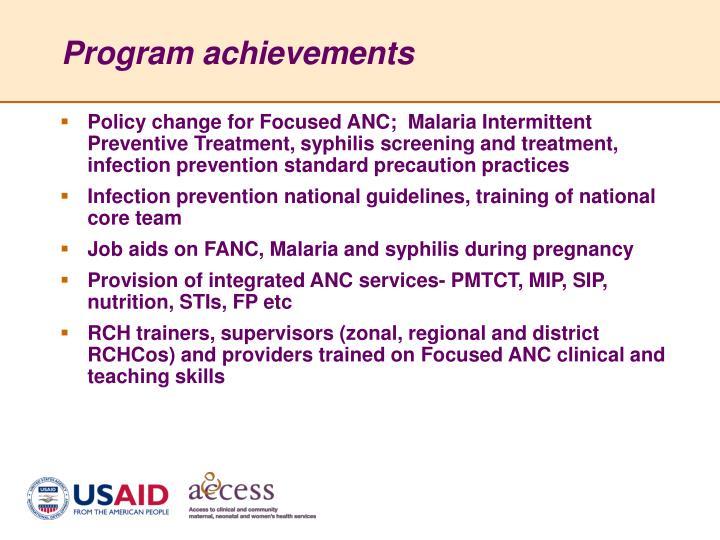 Program achievements