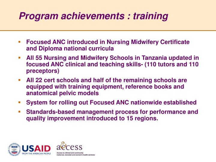 Program achievements : training