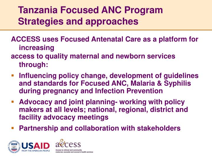 Tanzania Focused ANC Program Strategies and approaches