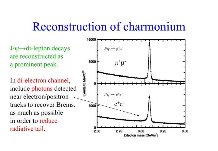 Reconstruction of charmonium