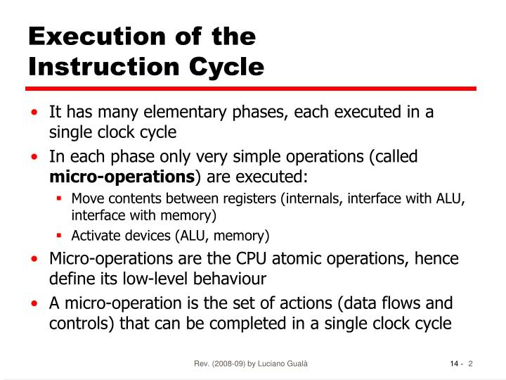 Execution of the instruction cycle