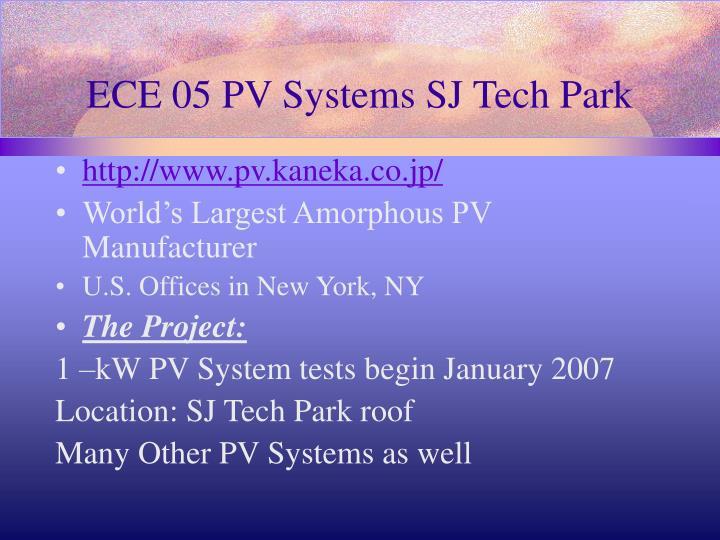 ECE 05 PV Systems SJ Tech Park