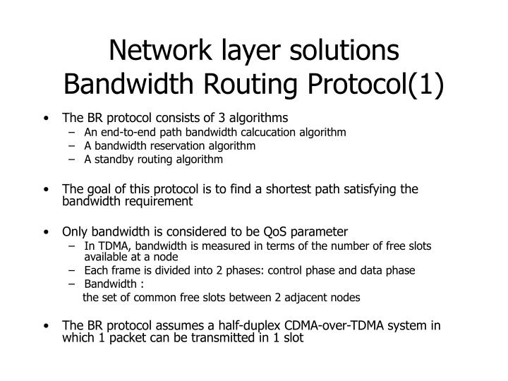 Network layer solutions