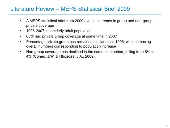 Literature Review – MEPS Statistical Brief 2009