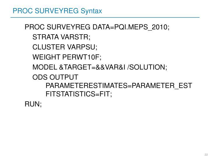 PROC SURVEYREG Syntax