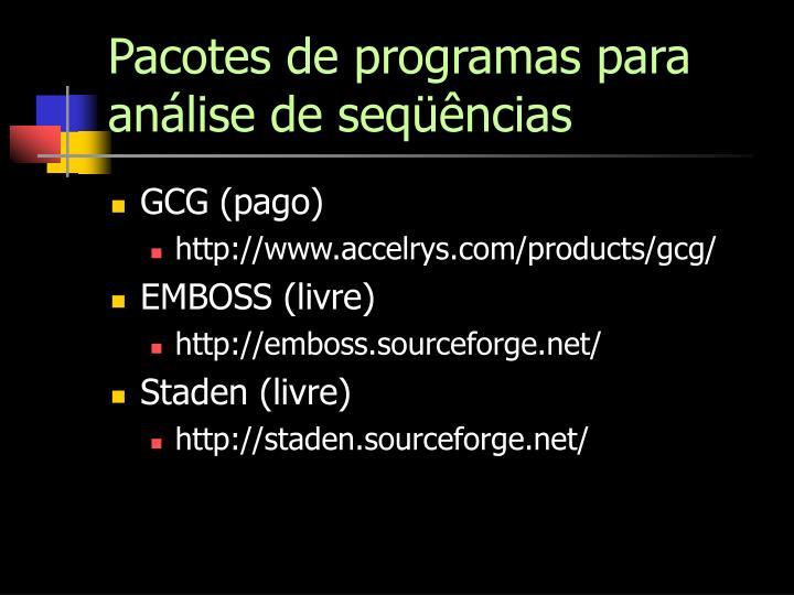 Pacotes de programas para análise de seqüências