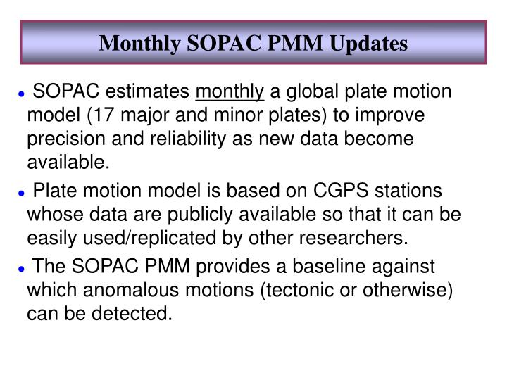 Monthly SOPAC PMM Updates