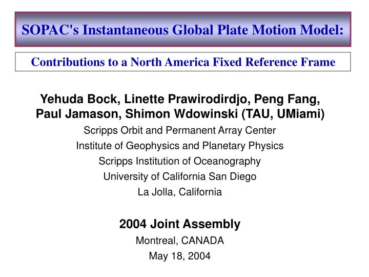 Sopac s instantaneous global plate motion model