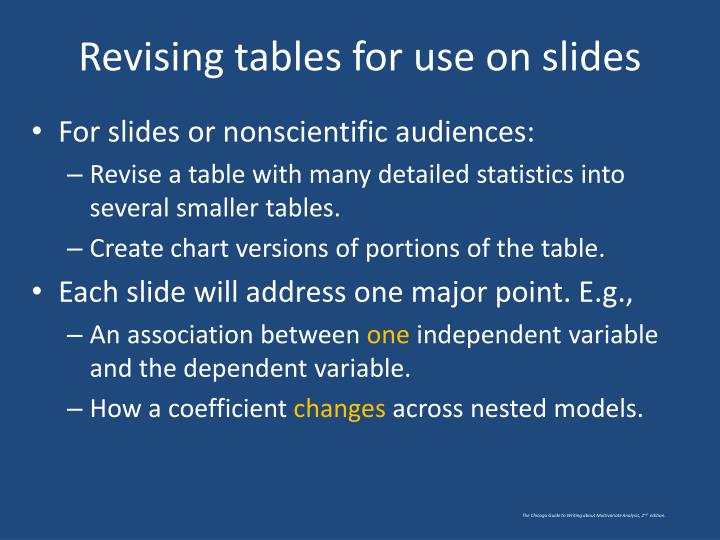 Revising tables for use on slides