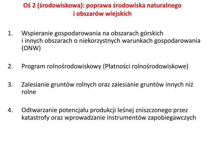 Oś 2 (środowiskowa): poprawa środowiska naturalnego