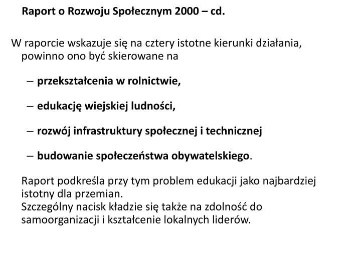 Raport o Rozwoju Społecznym 2000 – cd.