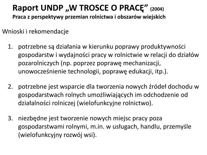 """Raport UNDP """"W TROSCE O PRACĘ"""""""