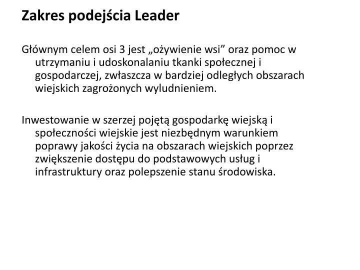 Zakres podejścia Leader