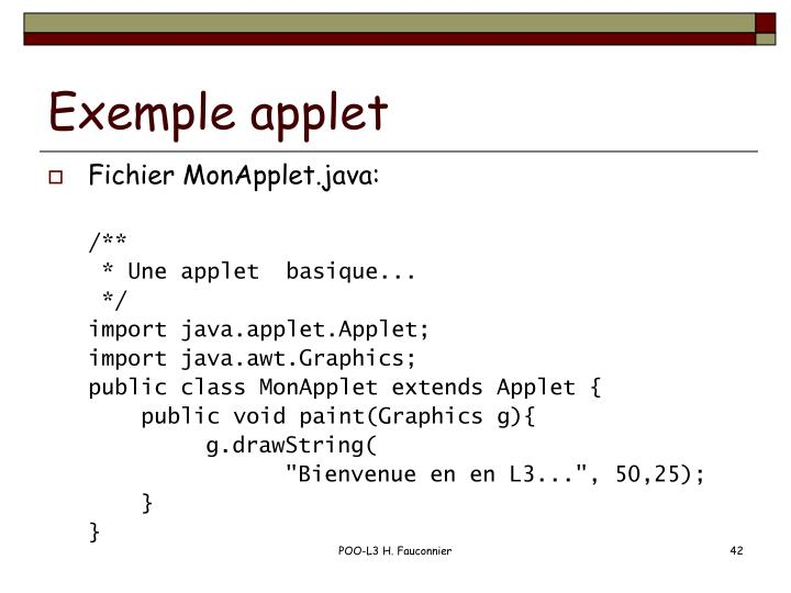 Exemple applet