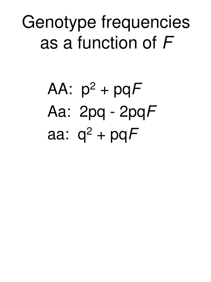 Genotype frequencies as a function of