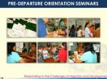 pre departure orientation seminars