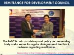 remittance for development council