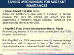 saving mechanisms for migrant remittances