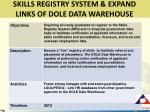 skills registry system expand links of dole data warehouse