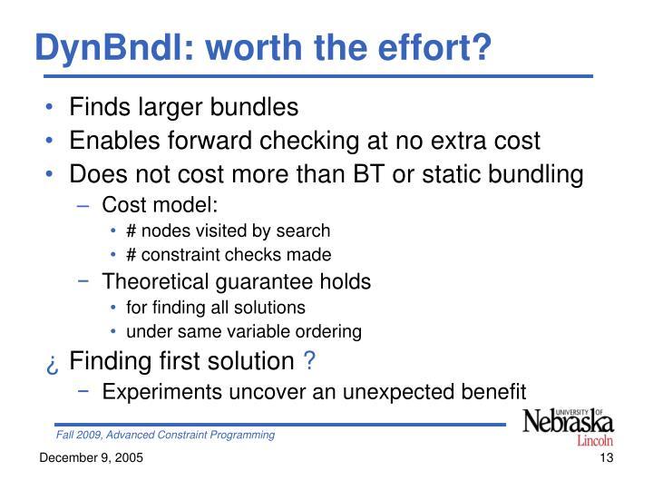 DynBndl: worth the effort?