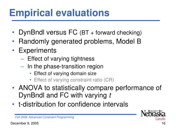 Empirical evaluations
