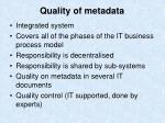 quality of metadata