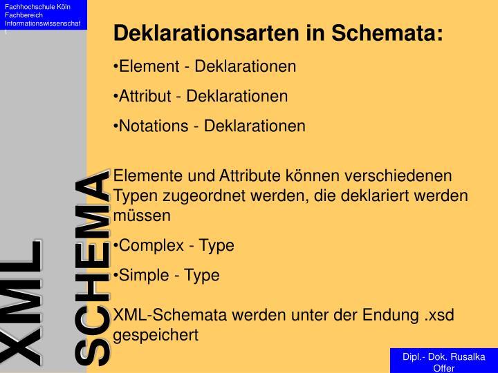 Deklarationsarten in Schemata: