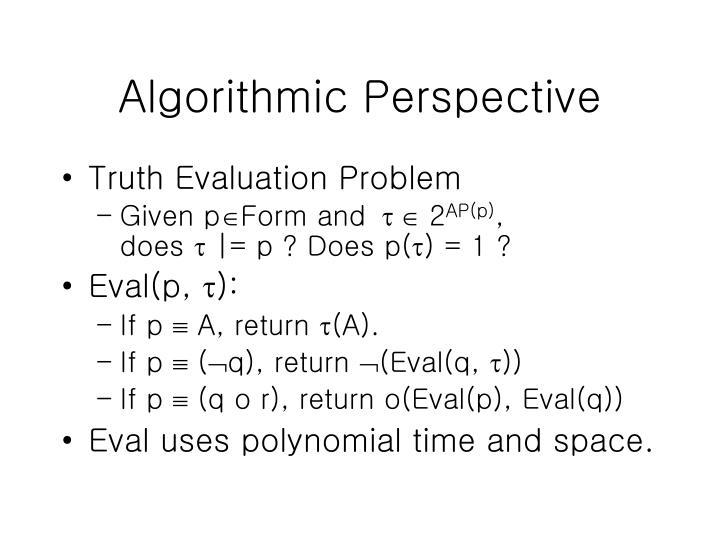 Algorithmic Perspective