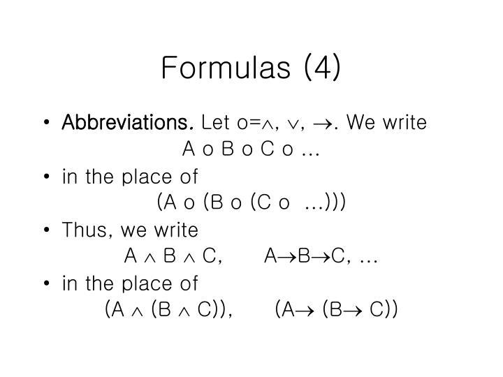 Formulas (4)