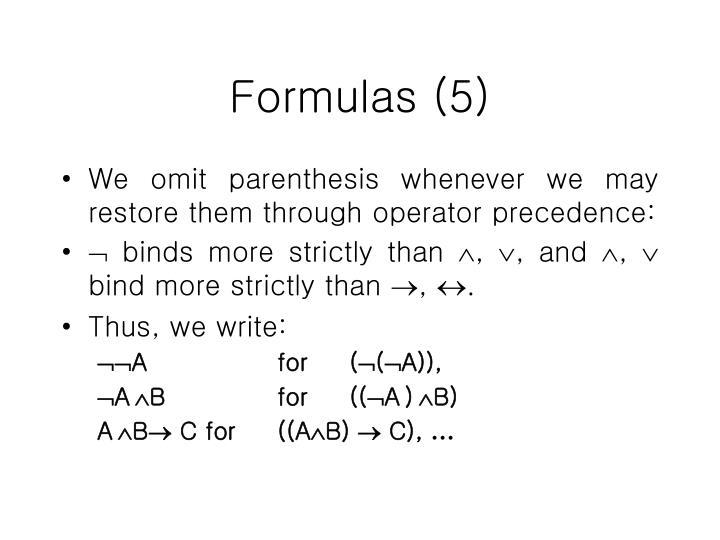 Formulas (5)