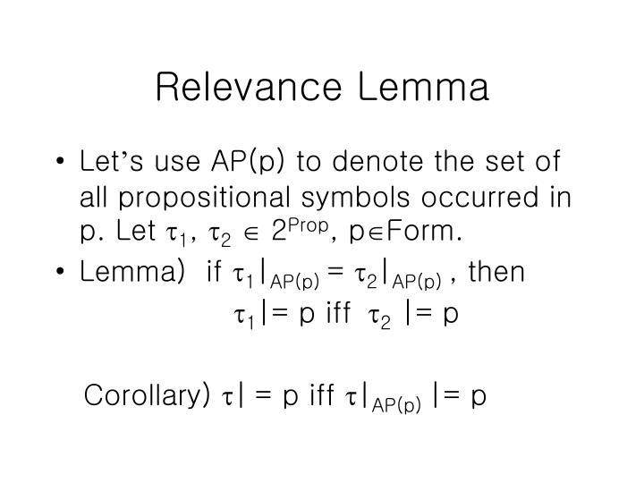 Relevance Lemma